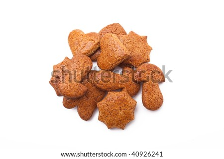 sweet gingerbreads on white background