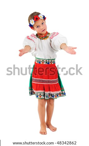 sweet girl in Ukrainian national costume