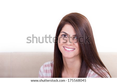 Portrait Of Charming Topless Model Close-up Stock Photo