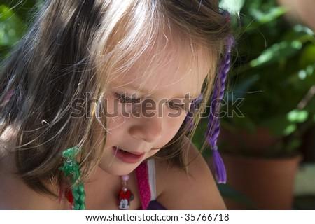 sweet girl. summer scenic. - stock photo