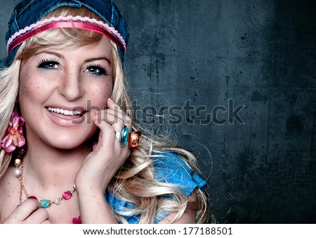 sweet girl with freckles - stock photo