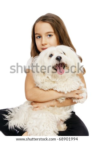 Sweet girl with maltese dog isolated on white