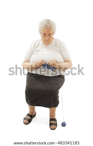Sweet grandmother old woman knitting. Isolated on white background