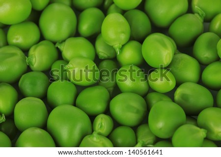 Sweet green peas close-up