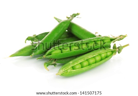 Sweet green peas isolated on white