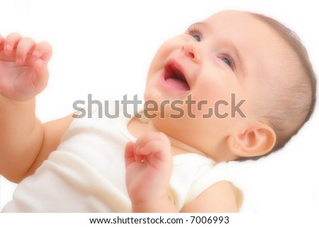 Sweet Happy Baby on white background .