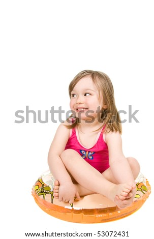 sweet happy little girl on the beach isolated - stock photo