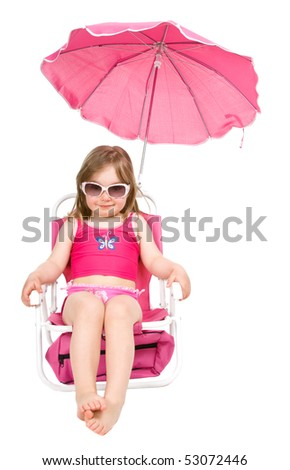 sweet happy little girl on the beach isolated