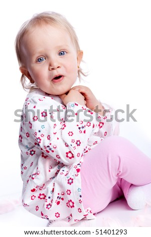 Sweet happy little girl sit over white background