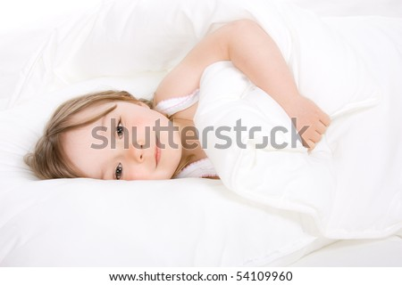 sweet happy little girl sleeping - stock photo