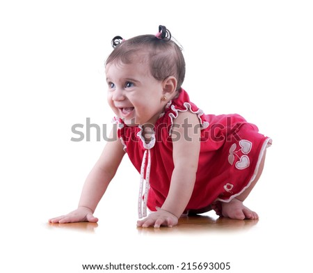 Sweet Happy Young Baby Girl Laughing Isolated on White Background