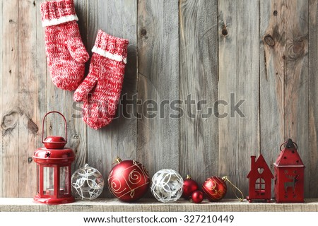 Sweet home. Christmas decor on vintage wooden background. Space for text. - stock photo