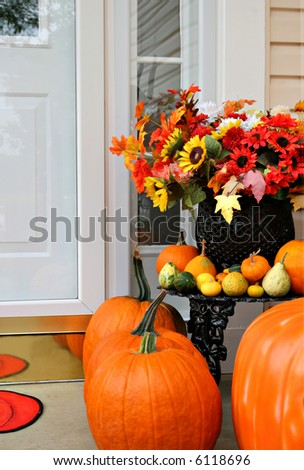 sweet home doorway autumn decoration - stock photo