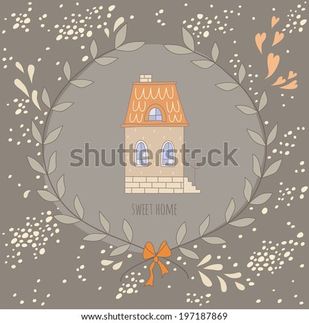 Sweet home illustration with a wreath and a very cute house - stock photo