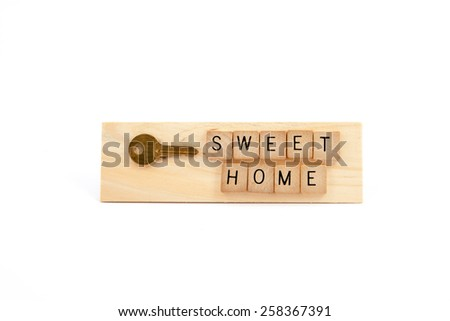 Sweet Home key  wooden sign - stock photo