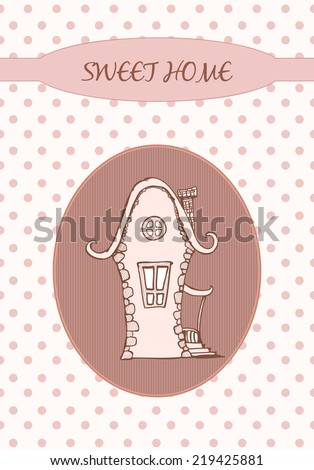 Sweet home on the dots. Hand drawn graphic illustration - stock photo