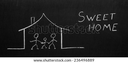Sweet home written on the blackboard with chalk - stock photo