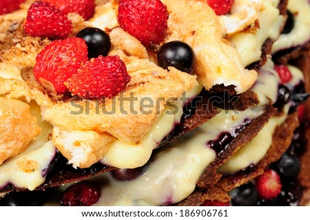 Sweet Homemade Custard Cake with Fresh Berries - stock photo