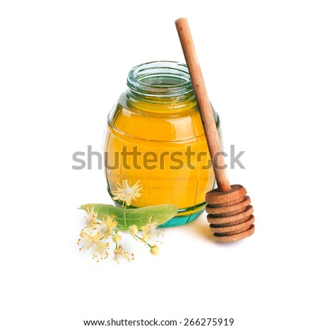 Sweet Honey and linden flowers on a white background. - stock photo