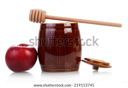 Sweet honey in jar with apple isolated on white