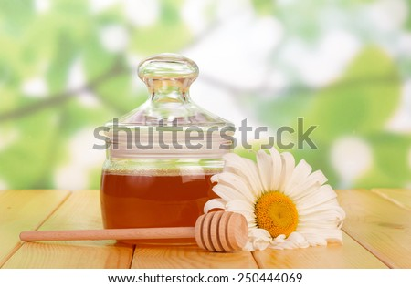 Sweet honey with honey dipper and flower - stock photo