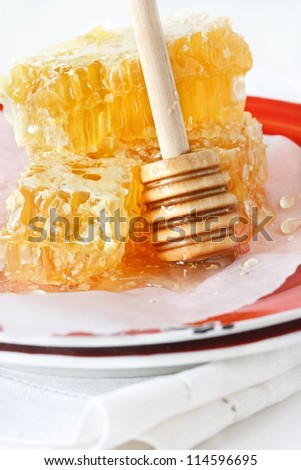 Sweet honeycombs and honey stick on a red rustic plate.