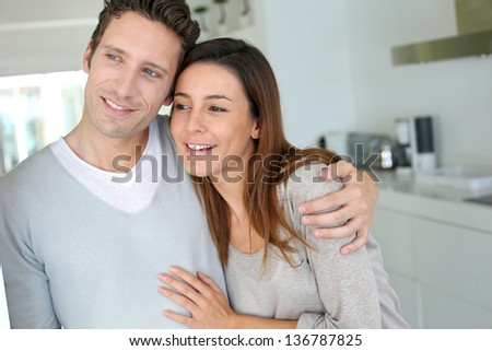 Sweet in love couple embracing each other