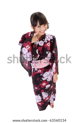 Sweet japanese girl with traditional clothes, full length portrait isolated on white. - stock photo