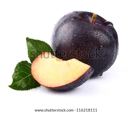 Sweet juicy plum - stock photo