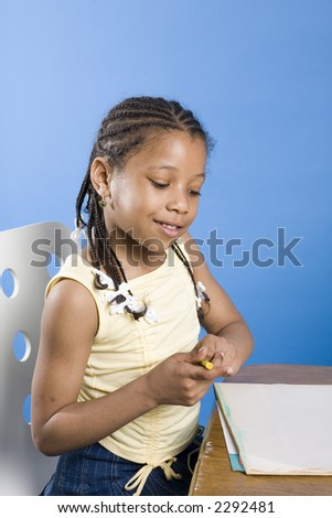 Sweet kid drawing a picture - stock photo