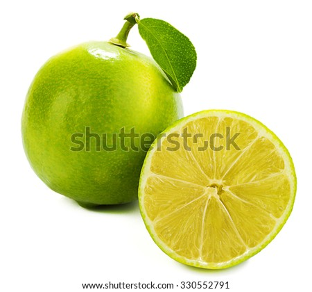 Sweet Lemon with Leaf and Slice  - stock photo