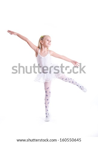 Sweet little ballerina. Isolated on a white background. Studio shot