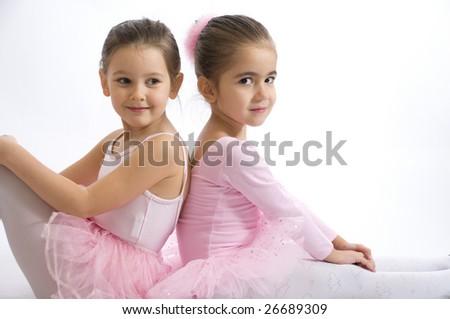 sweet little ballerinas portrait - stock photo