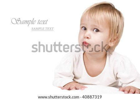 Sweet little blond girl against white background with space for text - stock photo