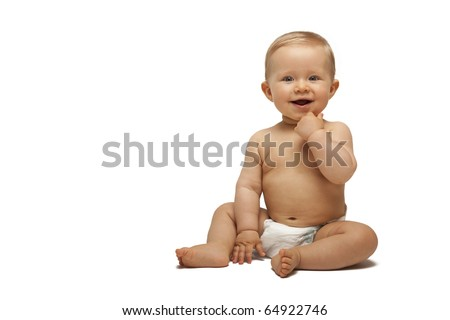Sweet little boy sitting - stock photo