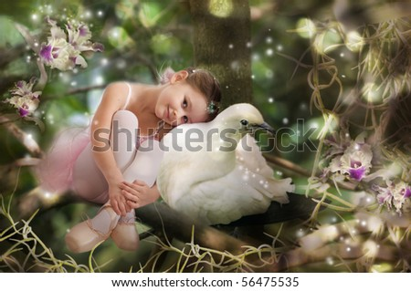 Sweet little fairy with white pigeon - stock photo