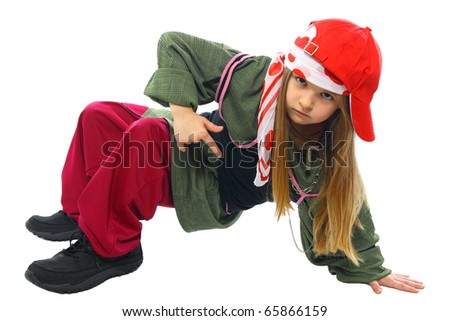 sweet little girl dancing hip-hop isolated on white - stock photo