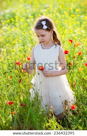 Sweet little girl in a white dress in the poppy seed meadow with wild spring flowers - stock photo