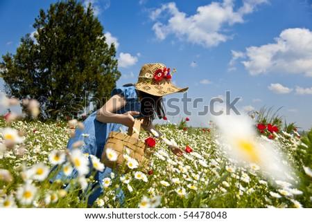 Sweet little girl pick wild flowers - stock photo
