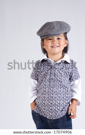 sweet little girl with a hat - stock photo