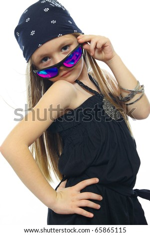 sweet little girl with glasses Posing isolated at the White - stock photo