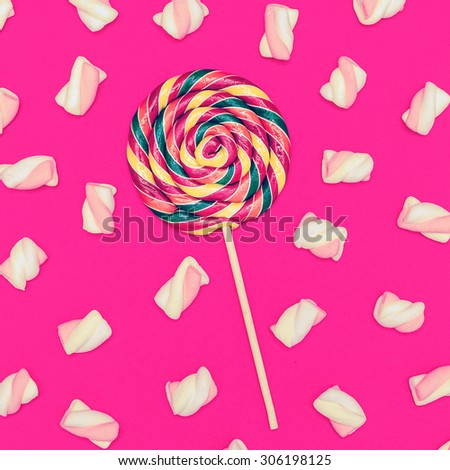 Sweet Lollipop mix cocktail. Sweet background