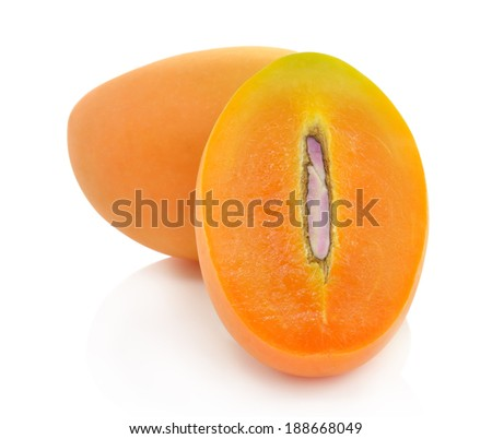 Sweet Marian plum fruit on white background