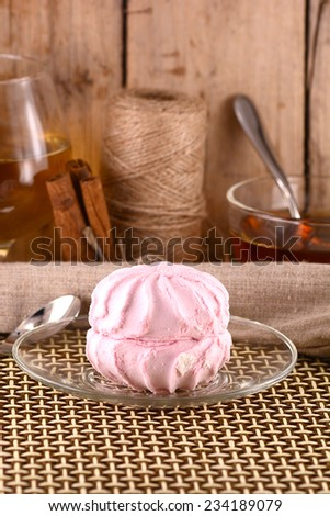 sweet meringue with fruits - stock photo