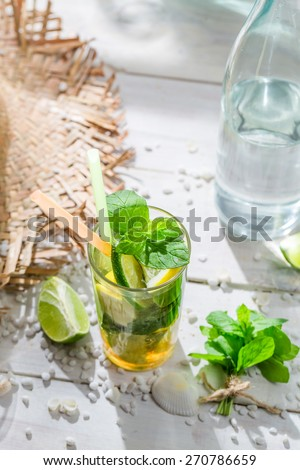 Sweet mojito with mint leaf