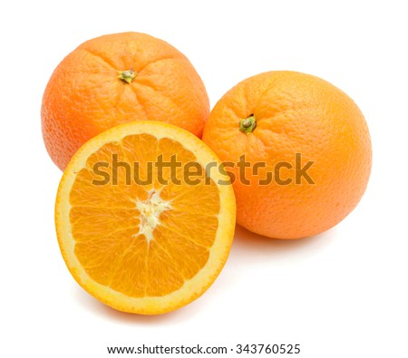 sweet orange fruit isolated on white  - stock photo