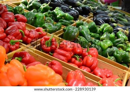 Sweet orange, yellow and red bell peppers