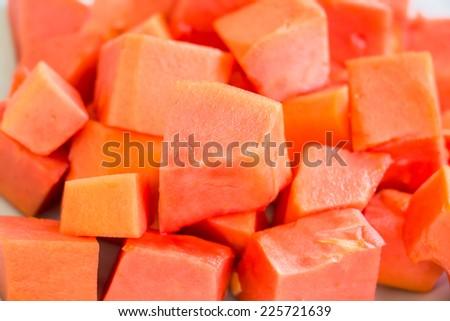 Sweet papaya close up - stock photo