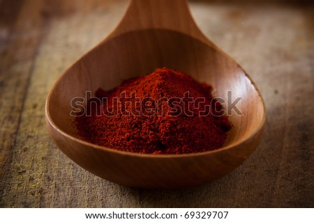 sweet paprika in wooden spoon