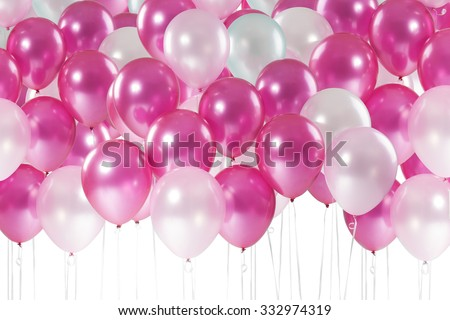 Sweet pastel tone balloons isolate on white background with clipping path - stock photo